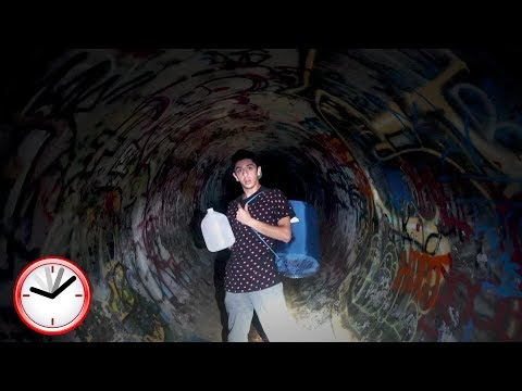 24 HOUR OVERNIGHT CHALLENGE AT THE HAUNTED TUNNEL.. (WTF)