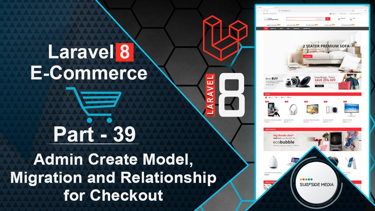 Laravel 8 E-Commerce - Admin Create Model, Migration and Relationship for Checkout