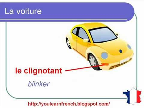 French Lesson 121 - Parts of the car Vocabulary - Parties Pièces d'une voiture Vocabulaire