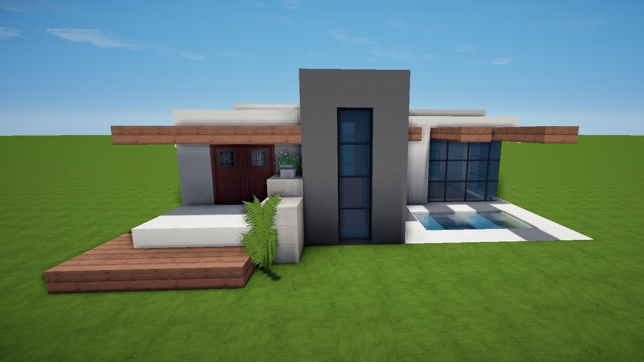 Modernes minecraft haus mit pool bauen tutorial haus 58 for Modernes haus minecraft