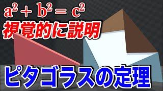 【ピタゴラスの定理】視覚的に見て分かる三平方の定理の証明が面白い!【物理エンジン】