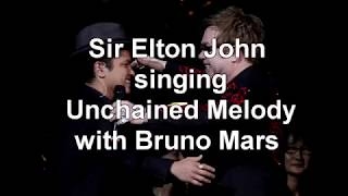 Sir Elton John Singing With Bruno Mars Unchained Melody