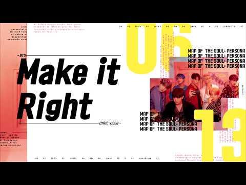 BTS (방탄소년단) - Make It Right Lyrics/가사
