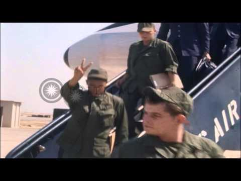 US troops and airmen get off from a TWA jet and sit in a terminal area at Bien Ho...HD Stock Footage