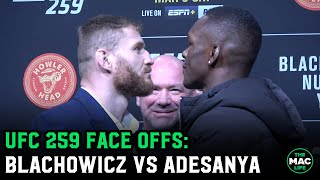 Israel Adesanya vs. Jan Blachowicz Face Offs | UFC 259 Press Conference