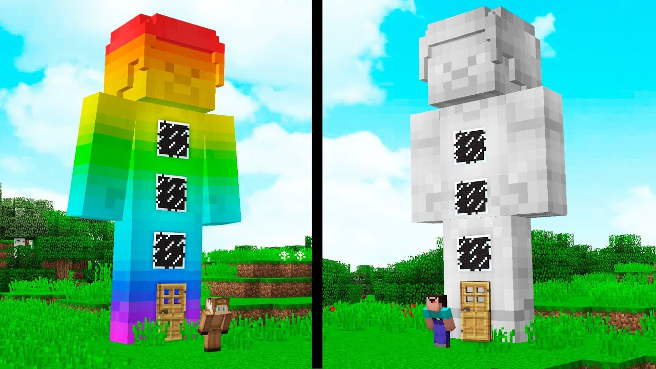87205fbf8d00 RAINBOW STEVE HOUSE VS. LIGHT STEVE HOUSE! - MINECRAFT - YouTube