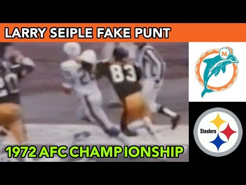 1972 UNDEFEATED MIAMI DOLPHINS LARRY SEIPLE FAKE PUNT & LARRY CSONKA TD AFC Champ Game vs Steelers