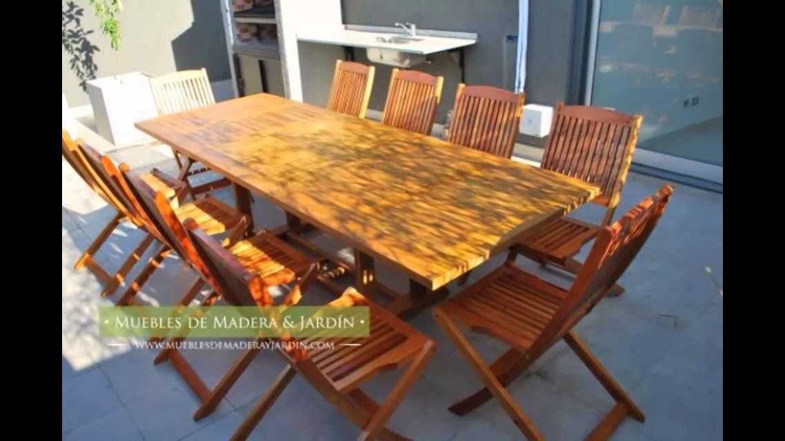 Sillas plegables de madera - Muebles de madera y jardín .COM - YouTube