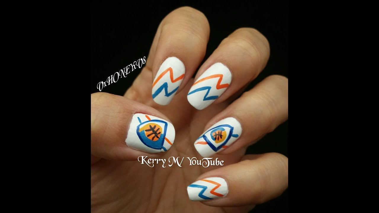 Thunder nails nba basketball inspired nail design youtube prinsesfo Image collections