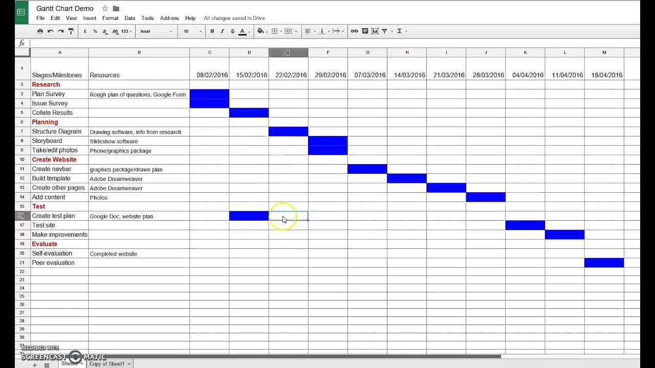 Creating A Gantt Chart In Google Sheets