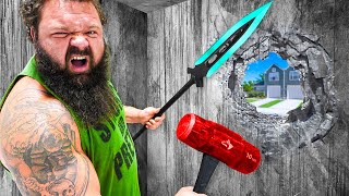 World's STRONGEST Man vs Unbreakable House! *trapped*
