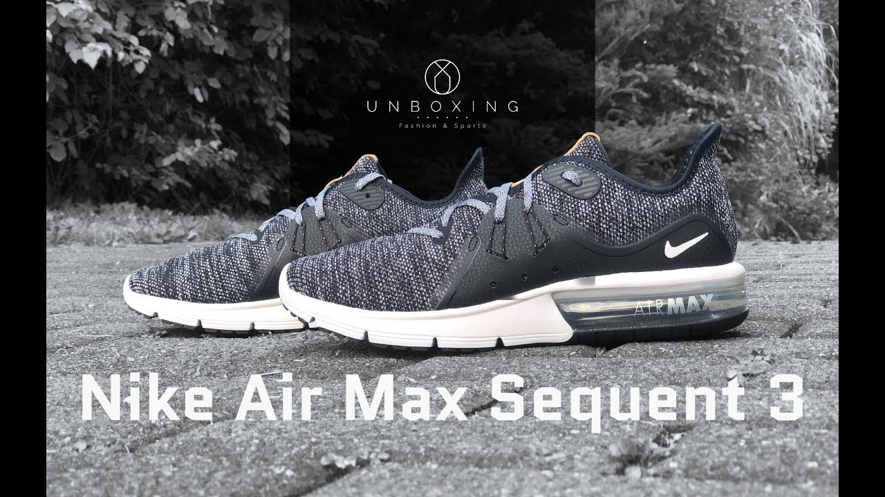 new style 37897 0bb90 Nike Air Max Sequent 3 BlackWhite-dark grey  UNBOXING  ON FEET   fashion shoes  4K