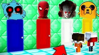 NO ESCOJAS LA PUERTA EQUIVOCADA!!!  PAYASO IT, SPIDERMAN.EXE, JACK.EXE, GUMBALL.EXE EN MINECRAFT
