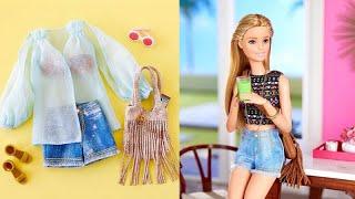 5 DIY Barbie Clothes Life Hacks - No Sew No Glue Doll Clothes - Doll Hacks and Crafts