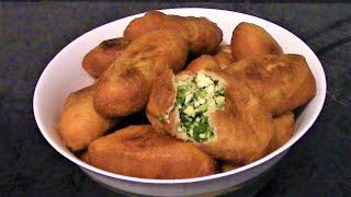 Пирожки с яйцом и зеленым луком ./Рецепт пирожков ./Пирожки жареные ./Дрожжевые пирожки .