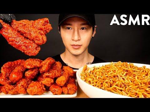 ASMR SPICY CHICKEN TENDERS & NOODLES MUKBANG (No Talking) EATING SOUNDS | Zach Choi ASMR