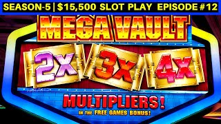 MEGA VAULT Slot Machine Live Play & Bonus Won | Season-5 | EPISODE #12
