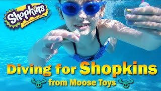 NEW Diving for Shopkins from Moose Toys Girl Swimming Playing in Pool