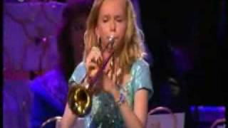 Amazing girl playing trumpet