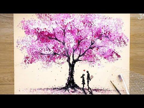 How to draw Romantic Couple beside a Cherry Tree / Bubble Wrap Painting Techniques