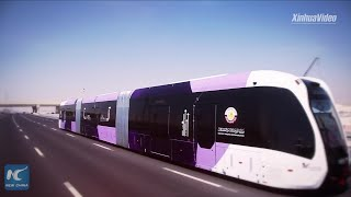 China's trackless smart bus starts trial run in Qatar