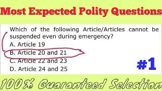 Most Expected Polity Questions /Railways ALP/Group D / SSC CGL, CPO, CHSL, MTS,AFCAT