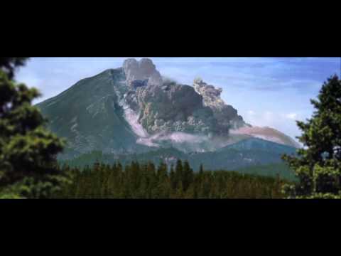 Mt St  Helens blast and landslide recreation mov