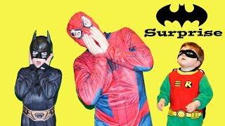 Little Heroes + Superheroes Giant Surprise Batman Tent with Real Life Spiderman v Batman + Robin