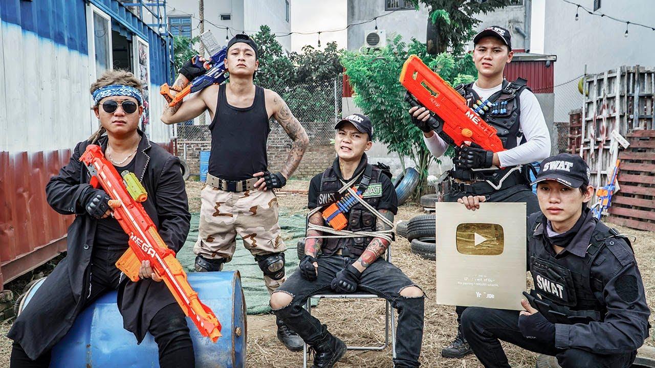 LTT Game Nerf War : Warriors SEAL X Nerf Guns SQUAD Fight Rocket Crazy Gold Button Thief