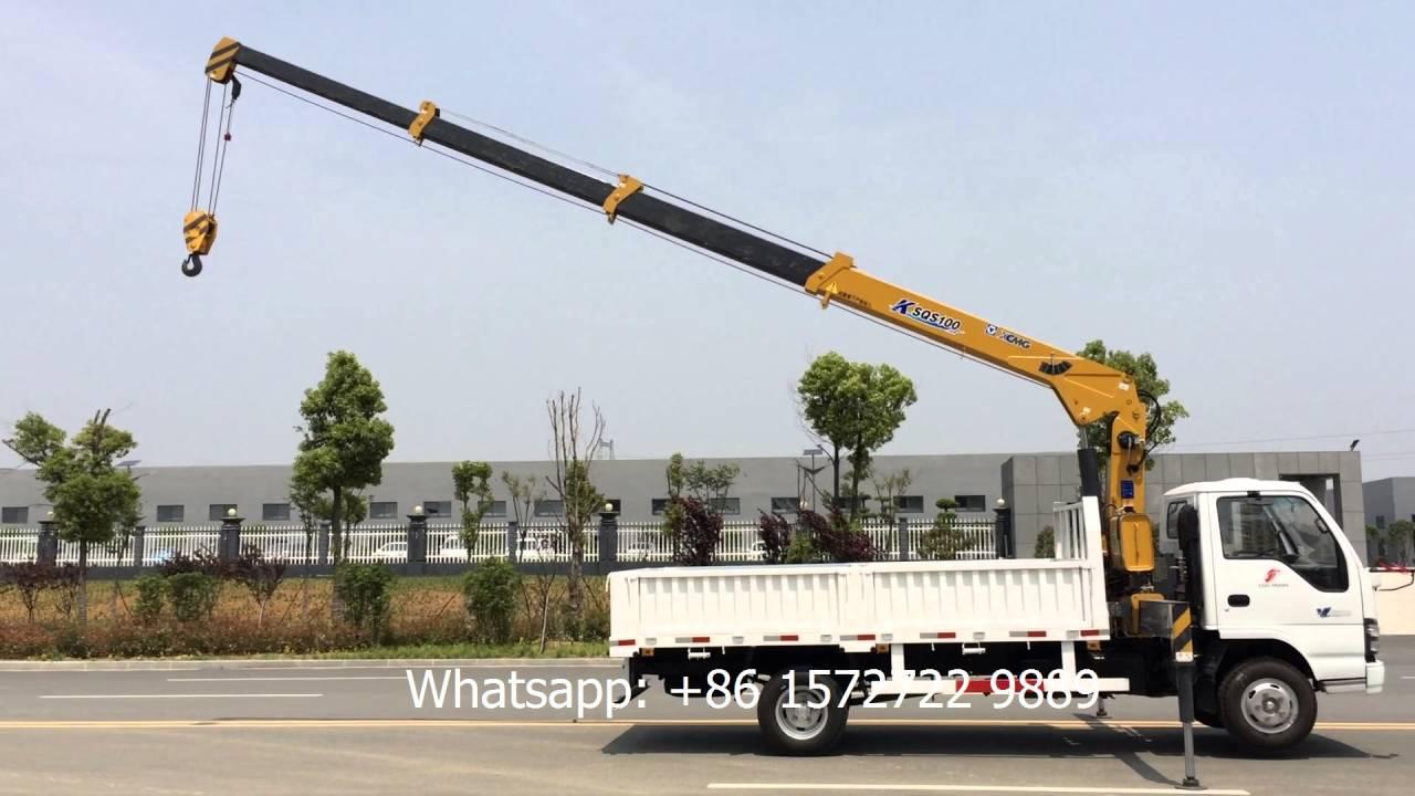 Telescoping boom jib cranes : Ton isuzu hydraulic telescopic boom truck mounted crane