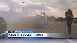Caught On Camera: Samaritans Save Driver From Burning Car