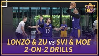 Lakers Practice: 2 on 2 drills, Lonzo Ball & Ivica Zubac vs Svi Mykhailiuk & Moe Wagner,