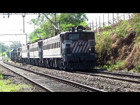 ELECTRIC Triplets lead DIESEL Twins and a freight Rake - Indian Railways