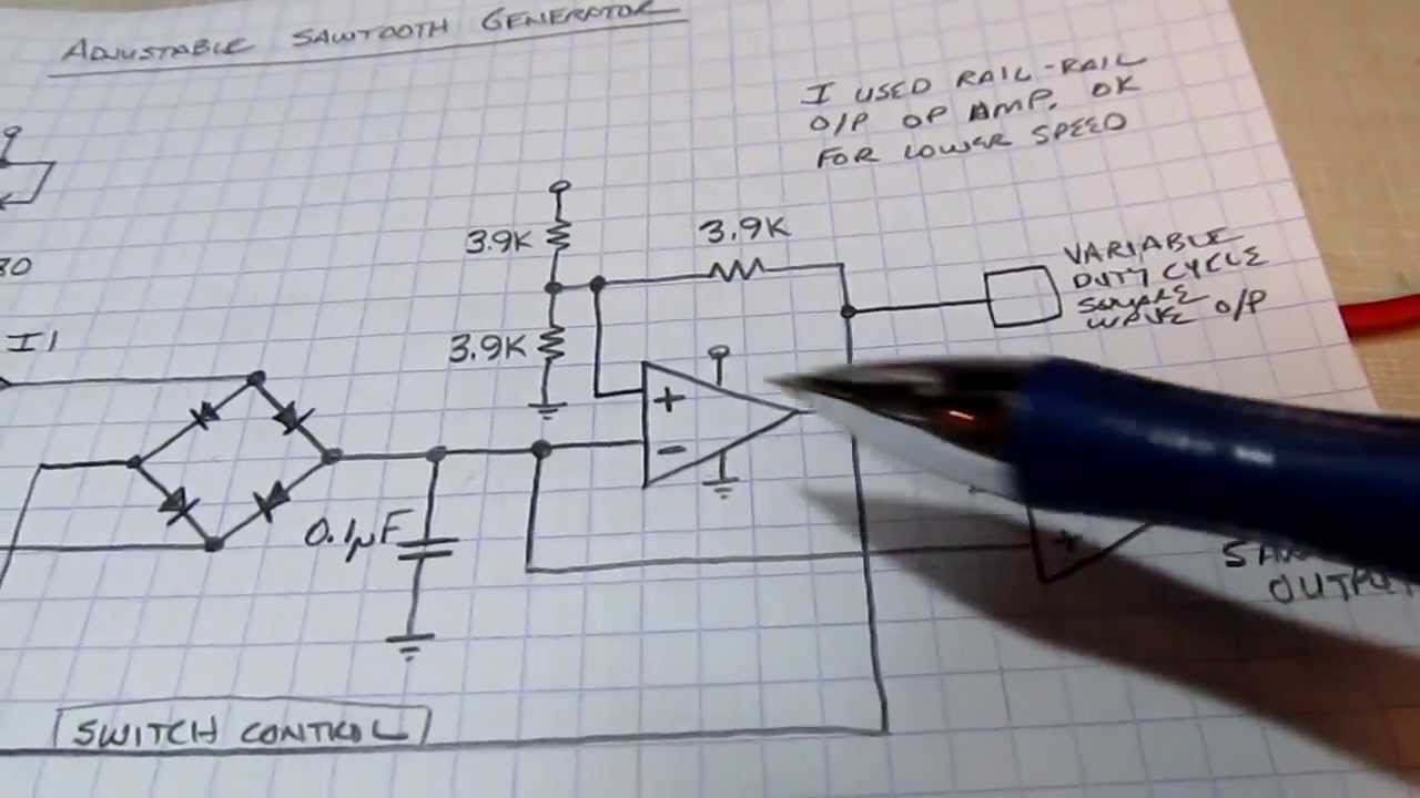 104 Circuit Tutorial Sawtooth Generator W Current Sources Diode Using 741 Op Amp A 12 Watt Audio Amplifier Operating On Dual Switches Hysteresis Comparator Youtube