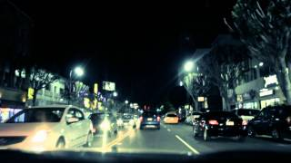 A drive on Hollywood Boulevard at night