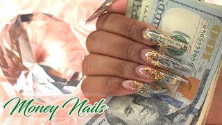 PAYDAY! Money Nails | Encapsulated Acrylic Nails | LongHairPrettyNails