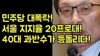 민주당 대폭락! 서울과 40대가 등돌리다 앞날이 어찌되나?(20.8.13.)