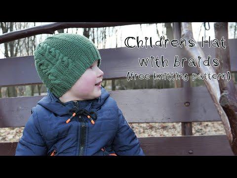 Шапка спицами на мальчика с косами