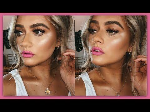 The PERFECT bronzed, glowy skin & neon pink lip | Rainbow week | EmmasRectangle