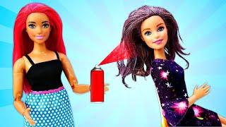 Красим волосы Барби: Из блондинки в брюнетку! Бьюти видео для девочек
