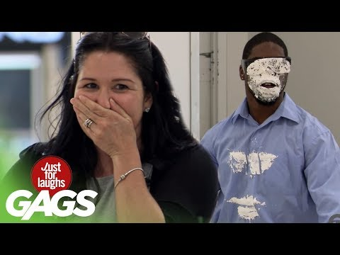 Blind Man Attacked by a Cake - Just For Laughs Gags