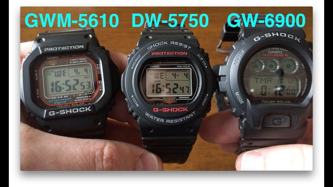 G Shocks Compared Dw5750 Vs Dw5600 Vs Gw6900 Vs Gwm5610