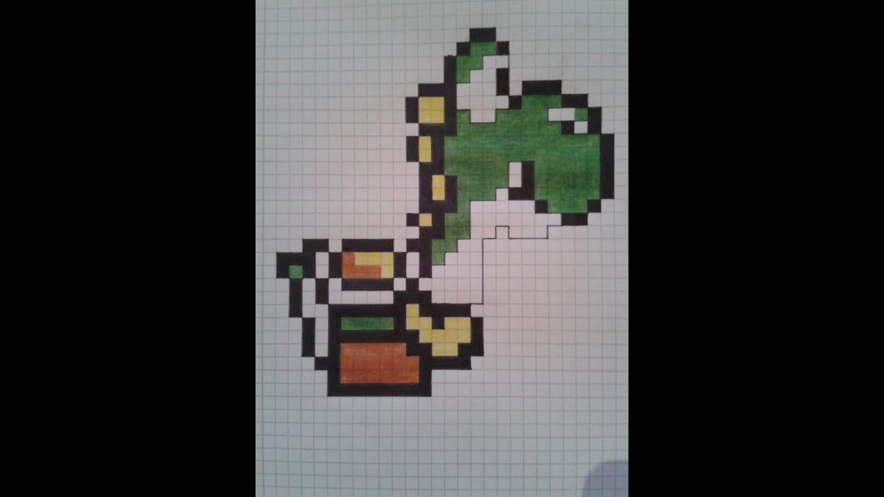 how to  draw pixel yoshi super mario world