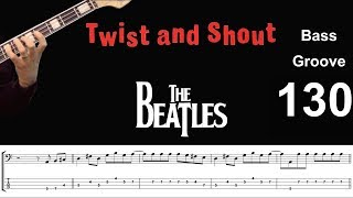 TWIST AND SHOUT (Beatles) How to Play Bass Groove Cover with Score & Tab Lesson