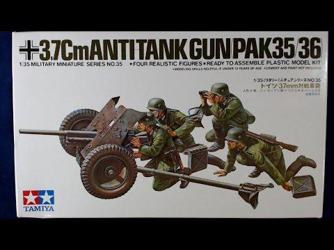 Tamiya 35035 1//35 Scale Military Model Kit German 37mm Anti-Tank Gun PAK35//36