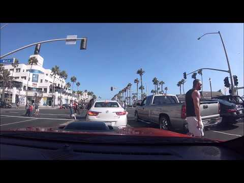 Huntington Beach Post office, Starbucks, and a cruise down PCH and Main Street 9 07 2018