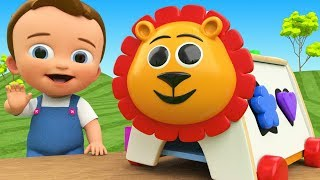 Lion Shapes Wooden Toy Set 3D Learn Colors & Shapes for Kids with Little Baby Fun Play Children Edu
