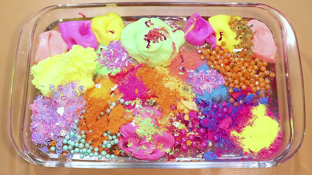 """Mixing """"Neon"""" Makeup,clay,slime,glitter... Into Clear Slime! """"Neonslime"""""""