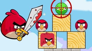 Angry Birds Pigs Out - ANGRY BIRDS MAD AT GREEN PIGS KICK THEM OUT!!