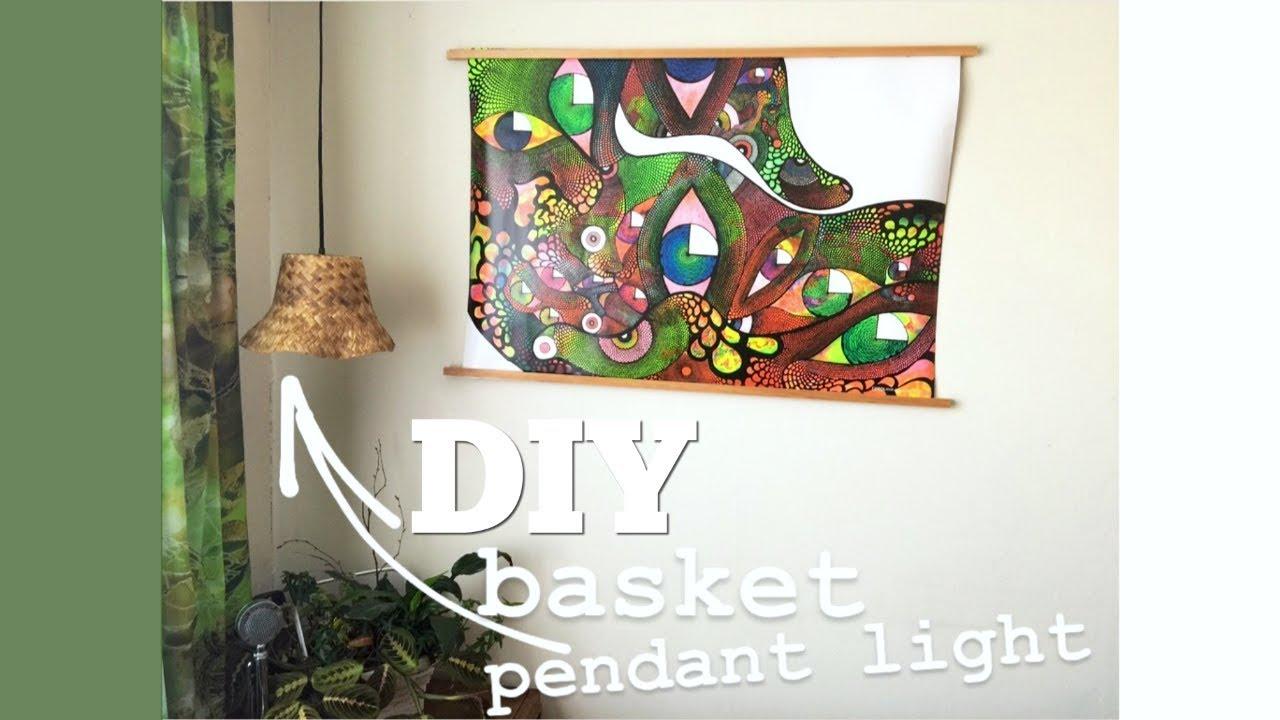 Diy basket pendant light youtube diy basket pendant light aloadofball Choice Image